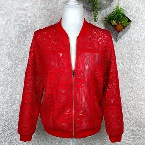 Chico's Red Lace-Crochet Bomber Jacket S